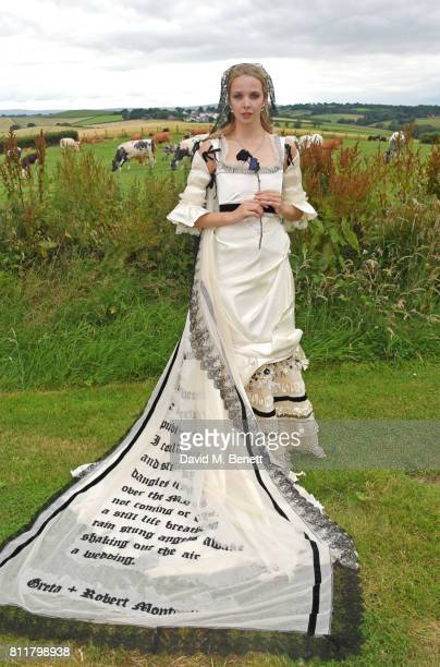 Greta Bellamacina poses at her wedding to Robert Montgomery on July 8 2017 in Exeter England