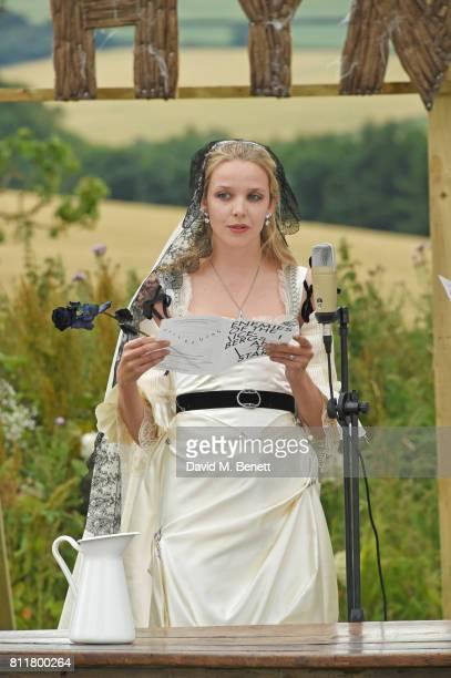 Greta Bellamacina speaks at her wedding to Robert Montgomery on July 8 2017 in Exeter England