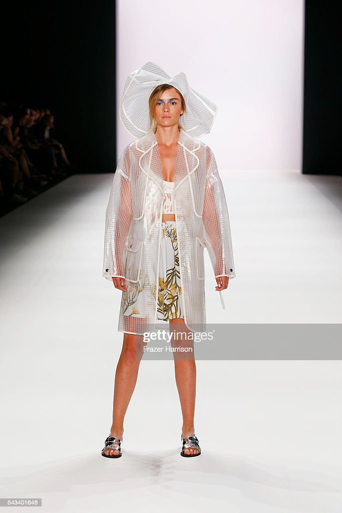A model walks the runway at the Steinrohner show during the Mercedes-Benz Fashion Week Berlin Spring/Summer 2017 at Erika Hess Eisstadion on June 28, 2016 in Berlin, Germany.