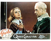 Greta Garbo and Lewis Stone in movie art for the film 'Queen Christina' 1933
