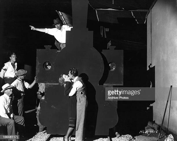 Greta Garbo embraces John Gilbert in publicity portrait for the film 'Flesh And The Devil' 1927