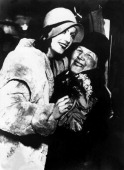 Greta Garbo embracing her mother during a trip to Sweden around 1927