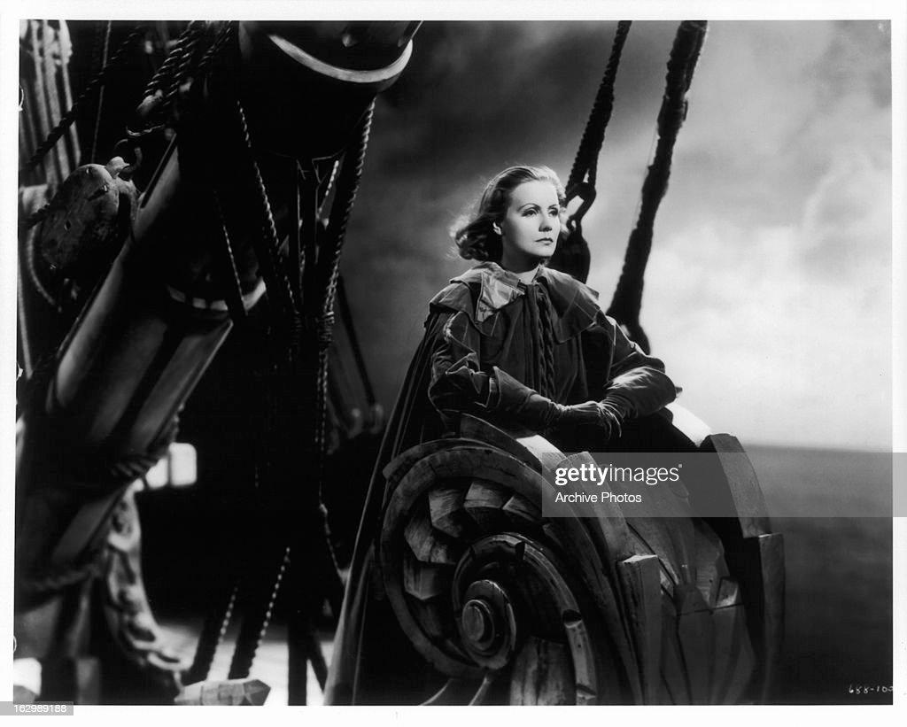 Greta Garbo rides in a ship in a scene from the film 'Queen Christina' 1933