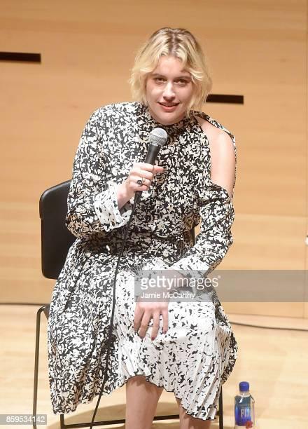 Greta Gerwig attends the 55th New York Film Festival NYFF Live Greta Gerwig 'Lady Bird' at Elinor Bunin Munroe Film Center on October 9 2017 in New...