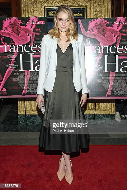 Greta Gerwig attends the screening of IFC Films' 'Frances Ha' at the Vista Theatre on May 1 2013 in Los Angeles California