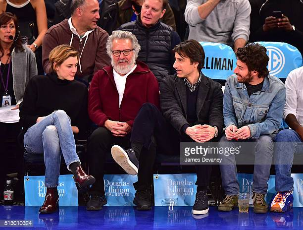 Greta Gerwig Dustin Hoffman Noah Baumbach and Jake Hoffma attend the Miami Heat vs New York Knicks game at Madison Square Garden on February 28 2016...