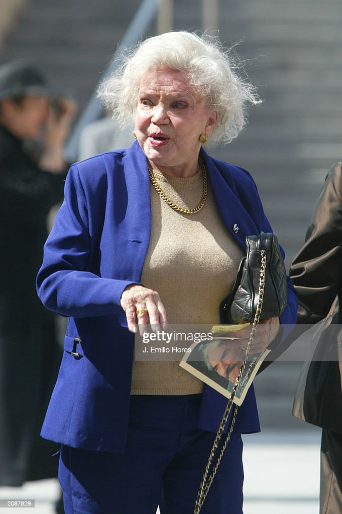 Greta Rice, former wife of Gregory Peck, leaves the Mass Memorial for actor Gregory Peck June 16, 2003 in Los Angeles, California. The public memorial mass was held a the Our Lady of Angels Cathedral in Downtown Los Angeles.