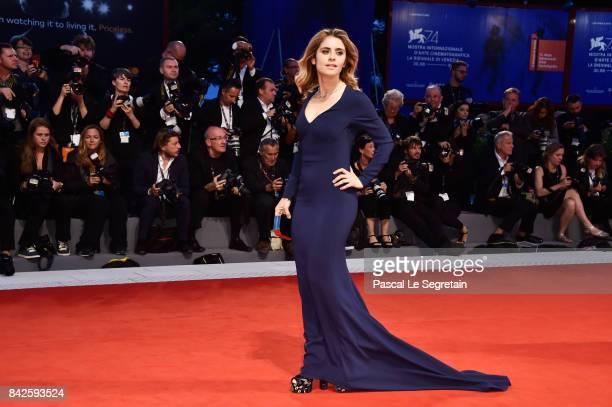 Greta Scarano walks the red carpet ahead of the 'Three Billboards Outside Ebbing Missouri' screening during the 74th Venice Film Festival at Sala...