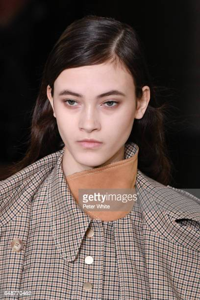 Greta Varlese beauty detail walks the runway during the Stella McCartney show as part of the Paris Fashion Week Womenswear Fall/Winter 2017/2018 on...