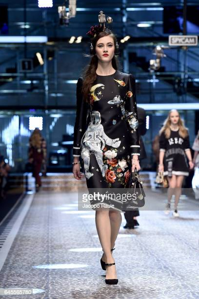 Greta Varlese walks the runway at the Dolce Gabbana show during Milan Fashion Week Fall/Winter 2017/18 on February 26 2017 in Milan Italy