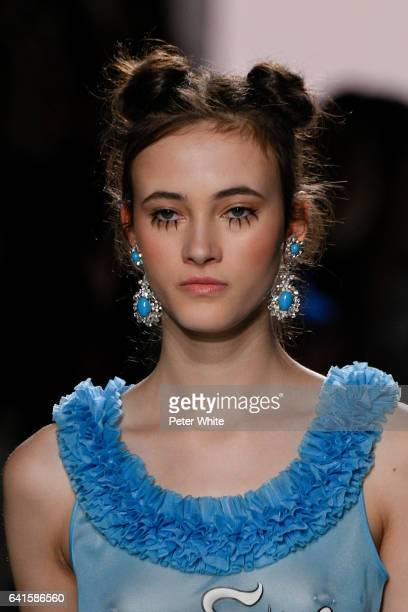 Greta Varlese walks the runway at the Jeremy Scott show during New York Fashion Week at Gallery 1 Skylight Clarkson Sq on February 10 2017 in New...
