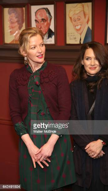 Gretchen Mol and Winona Ryder attend the unveiling of the Kenneth Lonergan caricature at Sardi's on February 17 2017 in New York City