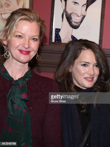 Gretchen Mol and Winona Ryder pose at a celebration for 'Manchester By The Sea' Director/Screenwriter/Playwright Kenneth Lonergan's caricature...