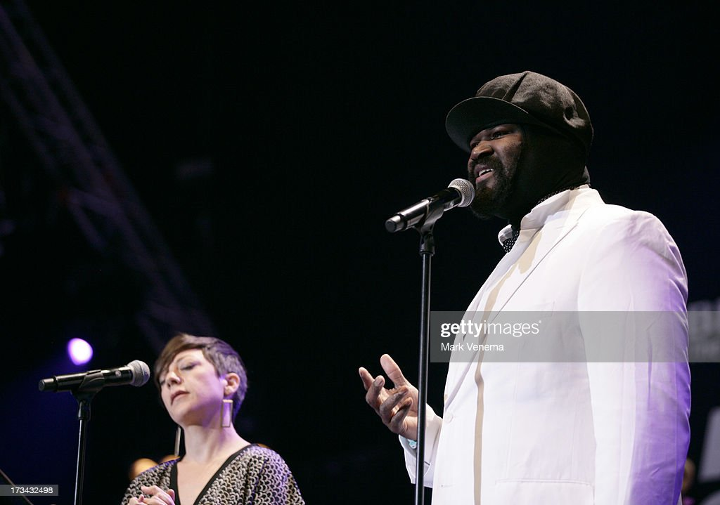 Gretchen Parlato and <a gi-track='captionPersonalityLinkClicked' href=/galleries/search?phrase=Gregory+Porter&family=editorial&specificpeople=7494861 ng-click='$event.stopPropagation()'>Gregory Porter</a> perform at Day 2 of the North Sea Jazz Festival at Ahoy on July 13, 2013 in Rotterdam, Netherlands.