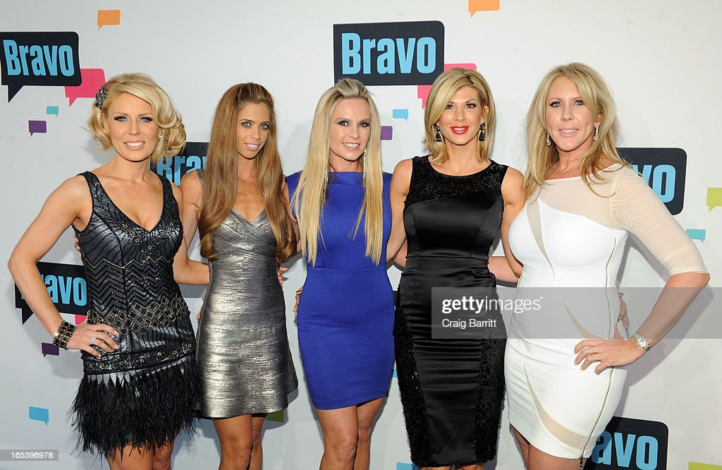 Gretchen Rossi, Lydia McLaughlin, Tamra Barney, Alexis Bellino, and Vicki Gunvalson of 'The Real Housewives of Orange County' attend the 2013 Bravo New York Upfront at Pillars 37 Studios on April 3, 2013 in New York City.