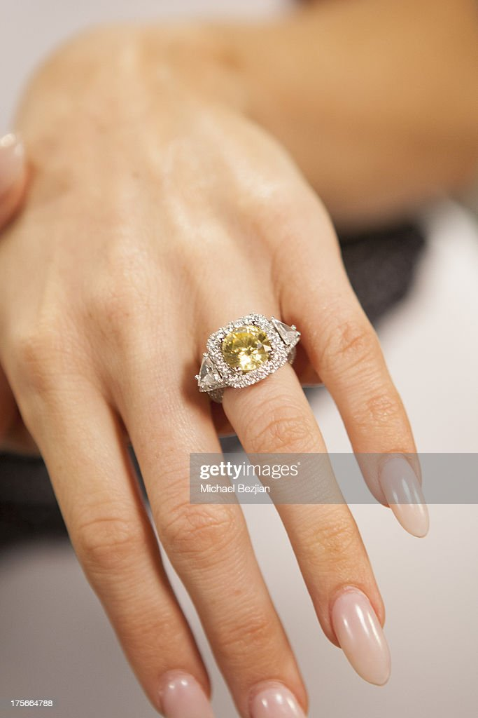 Gretchen Rossi (engagement ring detail) visits Diana Madison's 'AOL LOWDOWN' on August 5, 2013 in Hollywood, California.