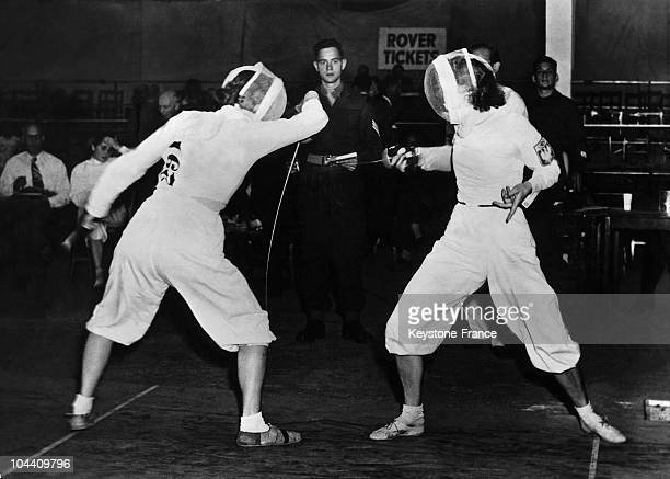 Grete OLSEN from Denmark in a fencing match against D NAWROCKA from Poland at the Wembley Stadium in London during the 1948 summer Olympics