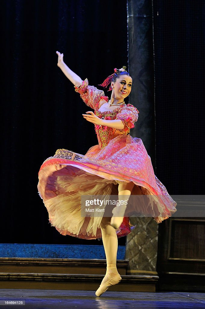 Gretel Palfrey performs as one of the step sisters during the dress rehearsal for the English National Ballet's 'My First Cinderella' at The Peacock Theatre on March 26, 2013 in London, England.