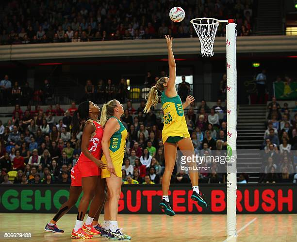 Gretel Tippett of Australia scores during the third International Netball Series match between England and Australia at the Copper Box Arena on...