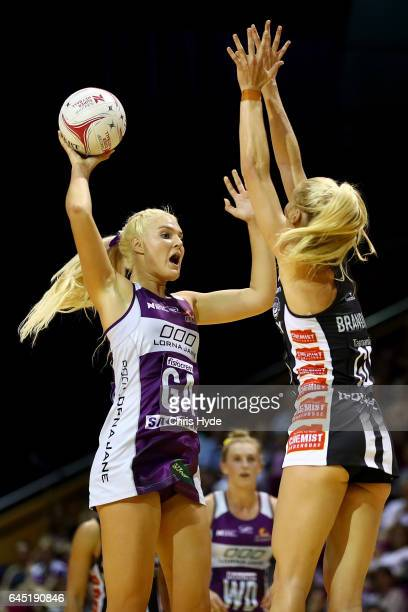 Gretel Tippett of the Firebirds passes during the round two Super Netball match between the Queensland Firebirds and the Collingwood Magpies at...