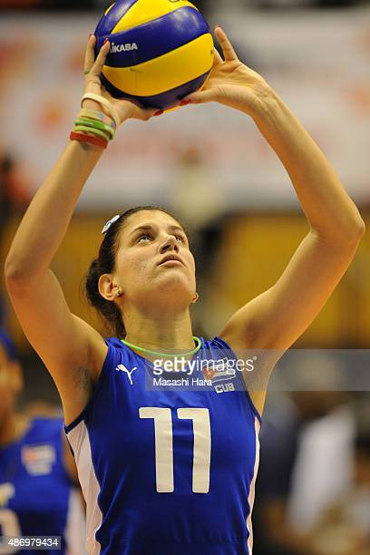 Gretell Elena Moreno Borrero of Cuba tosses in warm up before the match between Cuba and Peru during the FIVB Women's Volleyball World Cup Japan 2015...