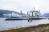 Grey battleship British royal fleet docked at naval base in Scotland uk