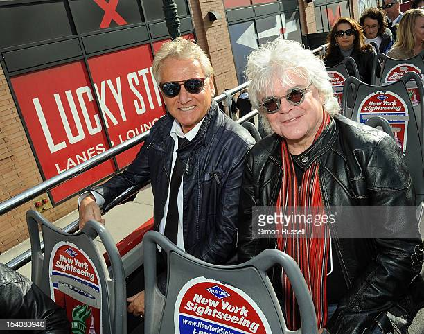 Grey Line New York honors iconic duo Graham Russell and Russell Hitchcock of rock band Air Supply in it's 'Ride of Fame' campaign at Pier 78 on...