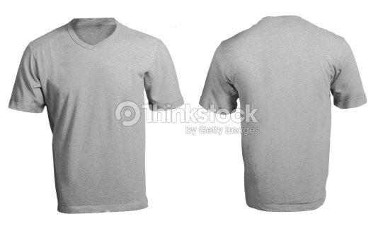 Grey Males V Neck Shirt Template Stock Photo