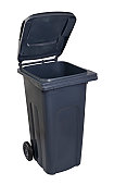 Grey plastic wheelie bin with the lid open