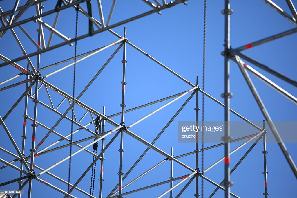Grey scaffolding waiting for concert lighting to be added