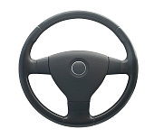 Grey steering wheel with circle in middle on horn