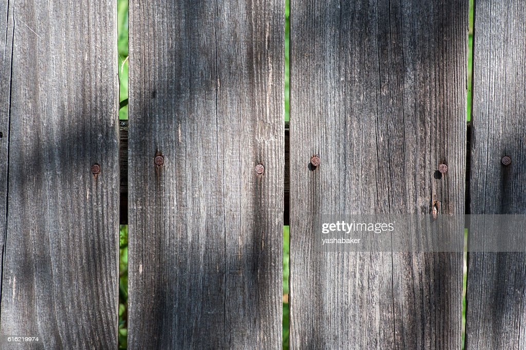 Grey wood  old planks texture background with sun and shadows : Stock Photo