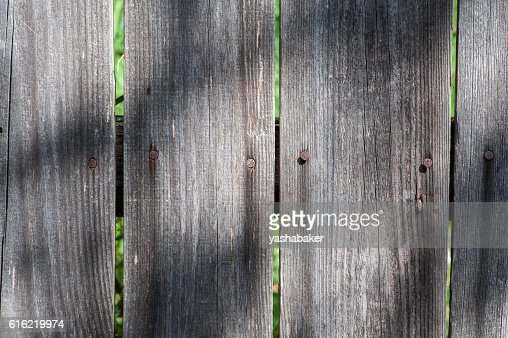 Grey wood  old planks texture background with sun and shadows : Photo