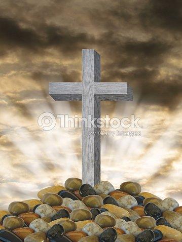 Grey Wooden Cross And Burial Rocks Christian Symbol Of Resurrection
