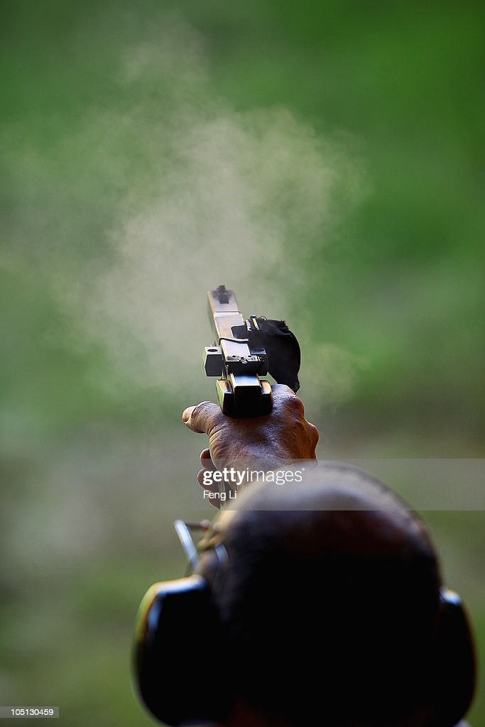 Grey Yelavich of New Zealand completes in the Men's Singles 25m Centrefire Pistol at the Dr Karni Singh Shooting Range during day seven of the Delhi 2010 Commonwealth Games on October 10, 2010 in Delhi, India.