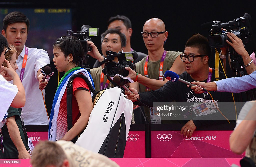 Greysia Polii of Indonesia walks past the press on Day 4 of the London 2012 Olympic Games at Wembley Arena on July 31, 2012 in London, England.