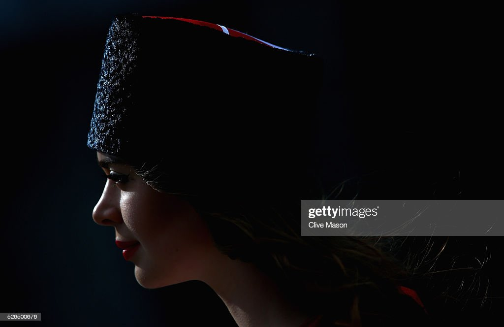 A grid girl during qualifying for the Formula One Grand Prix of Russia at Sochi Autodrom on April 30, 2016 in Sochi, Russia.