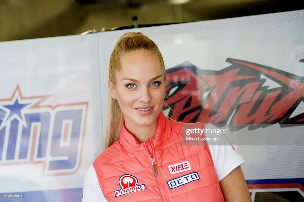 A grid girl during the MotoGp of France - Free Practice on May 6, 2016 in Le Mans, France.