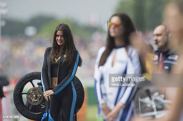 Grid girl pose on the grid during the Moto3 race during the MotoGP Netherlands Race at on June 27 2015 in Assen Netherlands