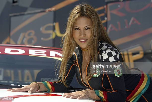 Grid girl Sherita poses for photographers at the VIP Pet Foods Main Event which is round 13 of the V8 Supercar Championship November 30 2003 at the...