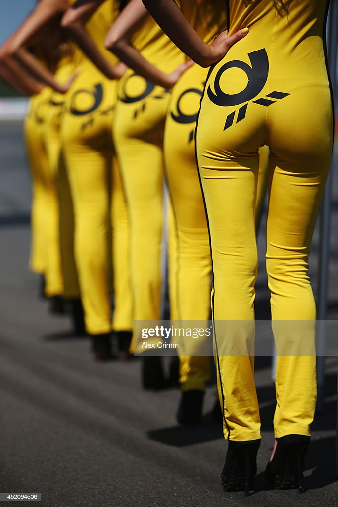 Grid girls are seen during the fifth round of the DTM German Touring Car Championship at Moscow Raceway on July 13 2014 in Moscow Russia