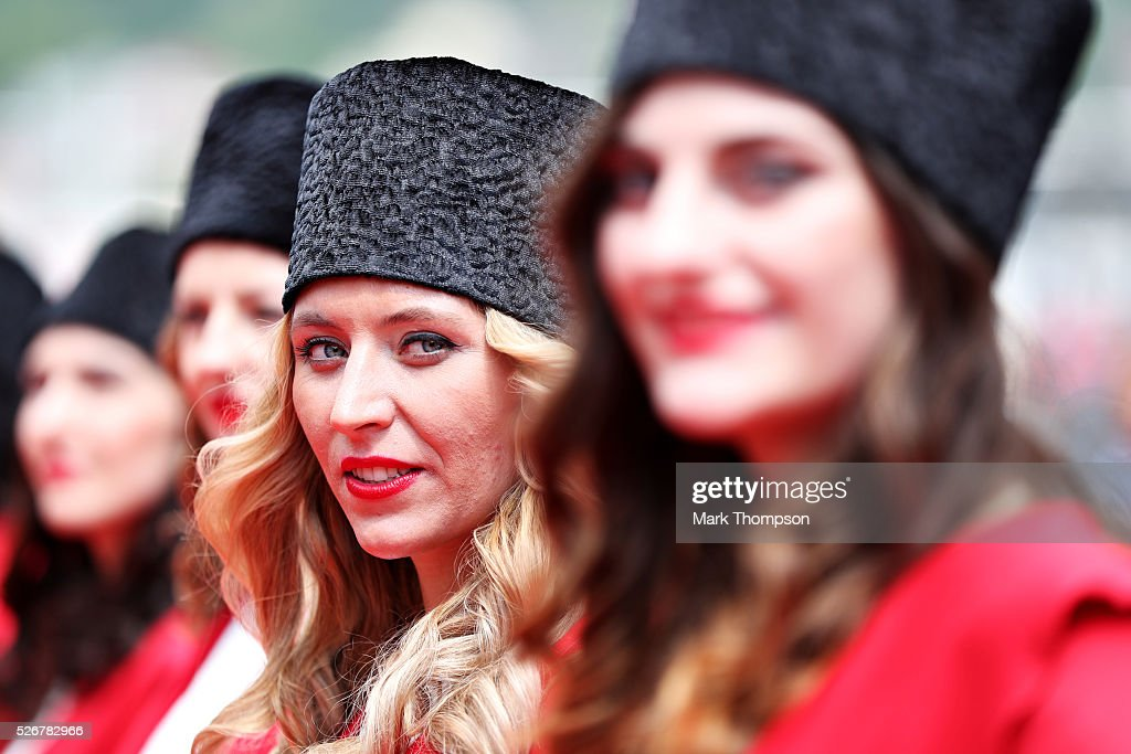 Grid Girls at the drivers parade ahead of the Formula One Grand Prix of Russia at Sochi Autodrom on May 1, 2016 in Sochi, Russia.