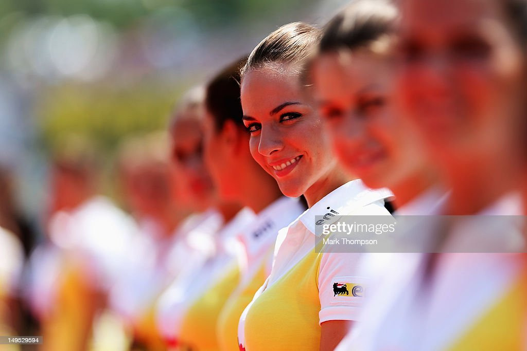 Grid girls attend the drivers parade before the Hungarian Formula One Grand Prix at the Hungaroring on July 29, 2012 in Budapest, Hungary.