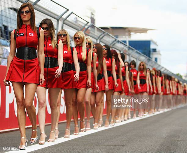 Grid girls line up before the start of the Turkish Formula One Grand Prix at Istanbul Park on May 11 in Istanbul Turkey