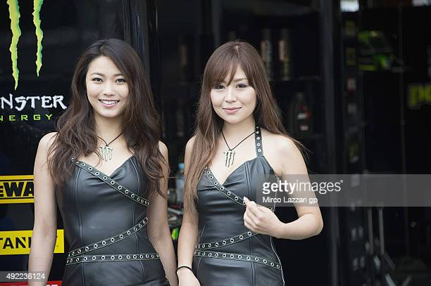 A grid girls posebefore the grid during the MotoGP race during the MotoGP Of Japan Race at Twin Ring Motegi on October 11 2015 in Motegi Japan
