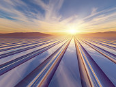 An illustration abstract surreal background with a flash of light sunrise over a metal grid to a vanishing point.
