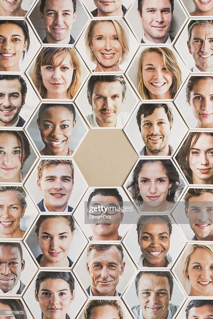 Grid of hexagonal portraits, one position vacant