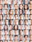 Grid of portraits, all blurred but one sharp one