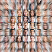 Grid of portraits, all zooming into one in centre