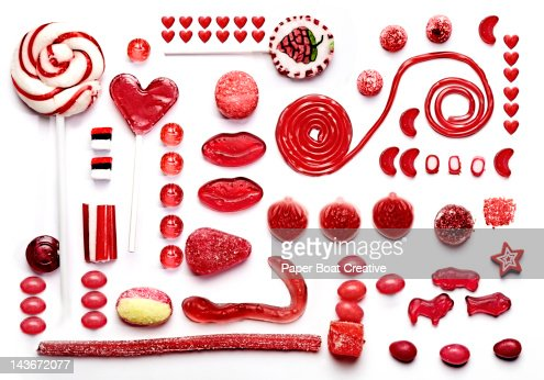 grid of red sweets and candy, gummy treats & food
